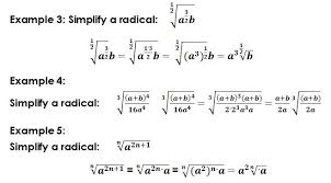 radicals basic math operations simplification equations exponents