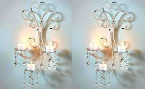 Bird Sconce Sconce Shabby Chic Rustic Clear Crystal 2 Light Candle Style