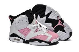kid jordans real nike air 6 shoes kid s white black pink cheap