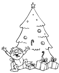 coloring pages happy boy christmas tree with gifts and happy boy christmas coloring page
