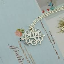 Small Monogram Necklace Initial Pendant 18k Gold Plated Statement 3 Initial Necklace