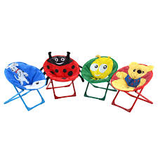 set of 4 kids saucer moon chair with animal prints folding