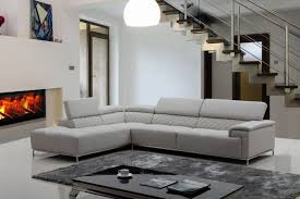 Living Room Interesting Grey Leather Sectional For Modern Living - Modern family room furniture