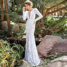 elegant boho wedding dresses 2017 long sleeve backless lace slim