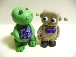 dinosaur wedding cake topper dinosaur and robot wedding cake topper choose your colors
