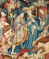 detail of the devonshire hunting tapestries boar and bear hunt unknown maker about 1425 1430 museum no t 204 1957