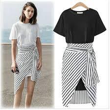 2018 tops fashion t shirt dress skirt short sleeve striped bow set