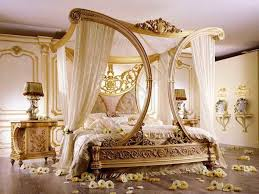 bedroom luxury golden carve canopy bed decoration combined with