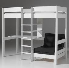 lit enfant surélevé blanc avec bureau et couchette en plus