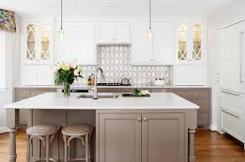 Taupe Cabinets White And Taupe Kitchen With Calacatta Gold Oval Tiles