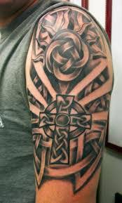 tribal cross half sleeve tattoos more information