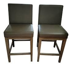 restoration hardware morgan leather counter stool a pair chairish