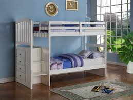 Built In Bedroom Furniture Amazon Com White Mission Style Staircase Bunk Bed With Built In