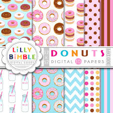 donut wrapping paper donut digital paper with donuts milk bottles for birthday
