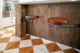 this reclaimed wood kitchen island lends a rustic vibe to the