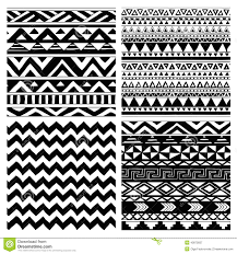 aztec tribal seamless black and white pattern set stock vector