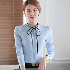 bow tie blouse plus size 2017 ol temperament formal bow blouse colid color slim