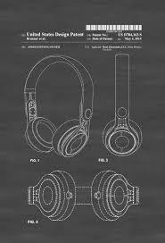 beats headphone patent patent print wall decor headphone