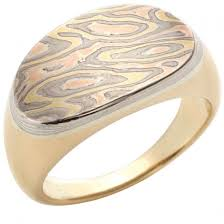 signet wedding ring mokume gane and yellow gold signet ring