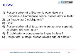 test d ingresso economia aziendale agenda il cus di management ed economia ppt scaricare