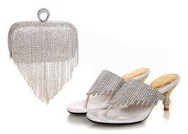 wedding shoes and bags 2016 high quality nigeria silver color wedding shoes italian shoes