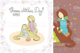 mothers day card with vector line illustration