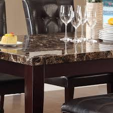 homelegance teague faux marble dining table in espresso beyond availability in stock