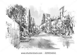 sketch city landscapebench park under treesillustration stock