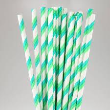 paper straws aqua green striped paper straws pipii