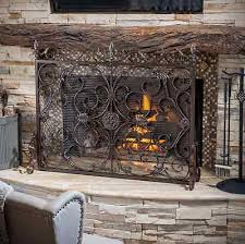 Single Fireplace Screen by Rustic Fireplace Screen Flat Bronze Wrought Iron Single Panel