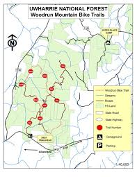 Nc State Parks Map by Uwharrie National Forest Bike Trails Maplets