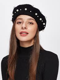 barret hat faux pearl beret hat emmacloth women fast fashion online