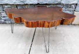 buy a hand crafted big round coffee table live edge slab table