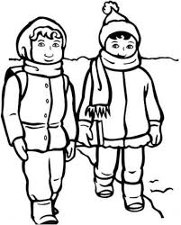 boy and with winter clothes coloring page science winter