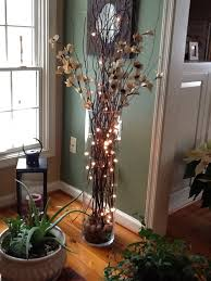 Oversized Vase Large Vase With Twigs Lights Silk Flowers Home Decorating