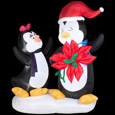 Home Depot Inflatable Christmas Decorations Gemmy 6 Ft H Animated Inflatable Penguin Couple With Poinsettia