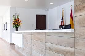 Glass Reception Desk A Sleek Tile And Glass Reception Desk U2039 Architects And Artisans