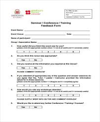 seminar feedback form great free workshop forms and seminar