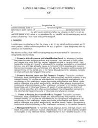 Sample Letter For Power Of Attorney by Free Illinois General Power Of Attorney Form Word Pdf Eforms