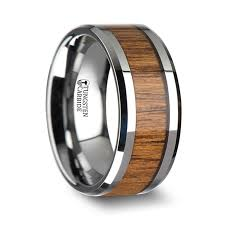 10mm ring wood tungsten ring with polished bevels and teak wood inlay