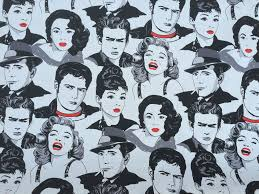 Graphic Upholstery Fabric Wow Lady Monroe Black And White Movie Icons Celebrities Faces