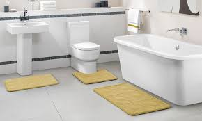 Memory Foam Toilet Rug Embossed Memory Foam Bath Rug Set 3 Piece Groupon