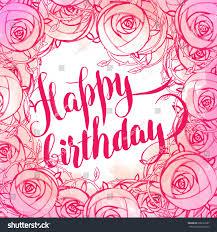 happy birthday card beautiful roses bouquet stock illustration