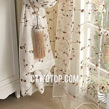 shabby chic beige floral patterned best linen curtains