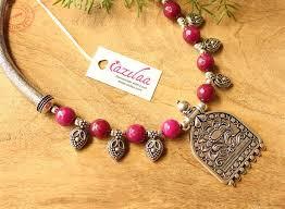 handmade designer jewellery ethnic ruby pink gemstone handmade necklace online in india azilaa
