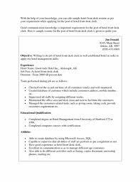 Resume Template Hospitality Front Desk Resume Lukex Co
