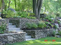 using stacked stone for retaining walls allows use of larger stone