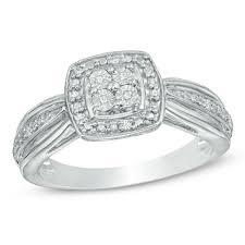 promise ring diamond accent square frame promise ring in sterling silver