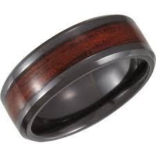 wood inlay wedding band men s wood inlay wedding band in black idealpin