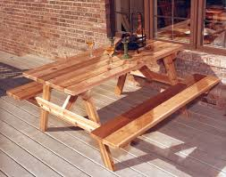 diy rectangle cedar picnic table with attached bench afternoon tea